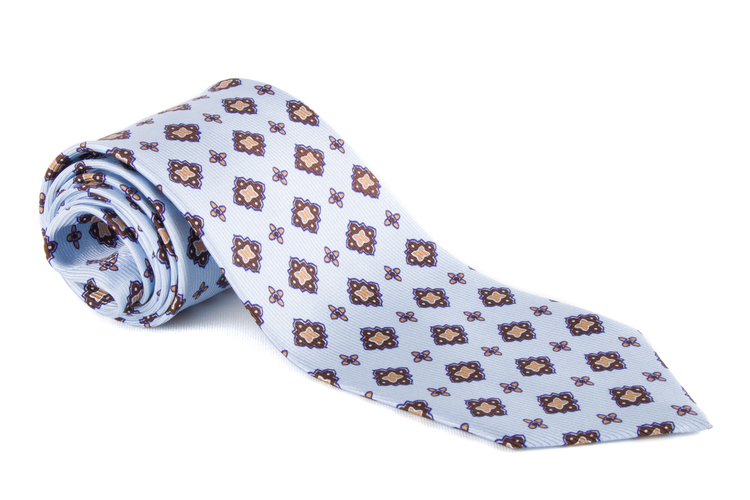 Medallion Vintage Silk Tie - Light Blue/Blue/Yellow