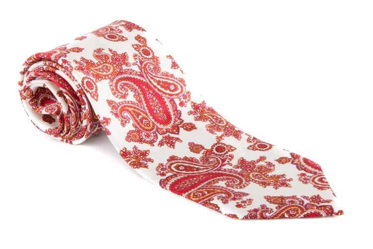 Paisley Vintage Silk Tie - White/Red