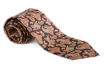Paisley Vintage Silk Tie - Navy/Beige/Orange