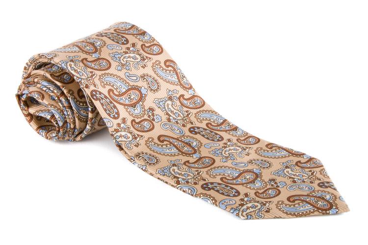 Paisley Vintage Silk Tie - Beige/Brown/Navy Blue