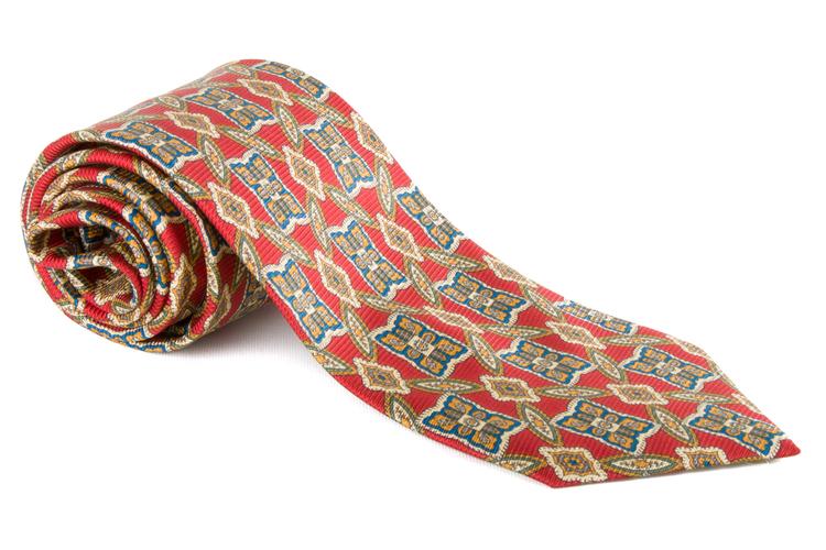 Medallion Vintage Silk Tie - Red/Yellow/Blue
