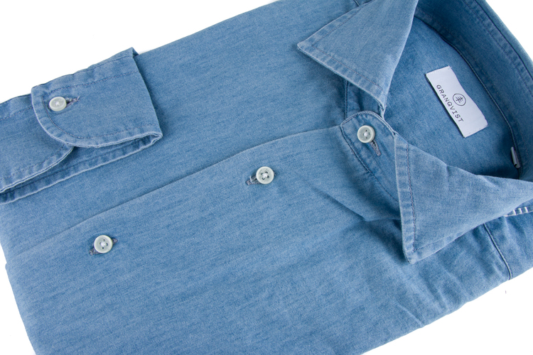 Solid Denim Shirt - Cutaway - Light Navy Blue