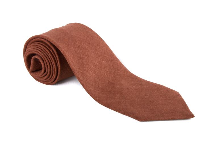 Solid Linen Tie - Brown