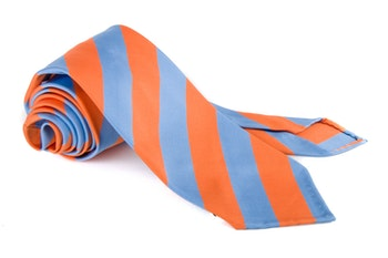 Silk Regimental Untipped - Orange/Light Blue