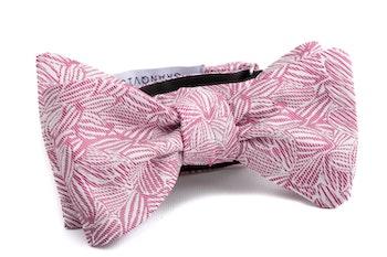Self tie Floral Silk - Pink/White