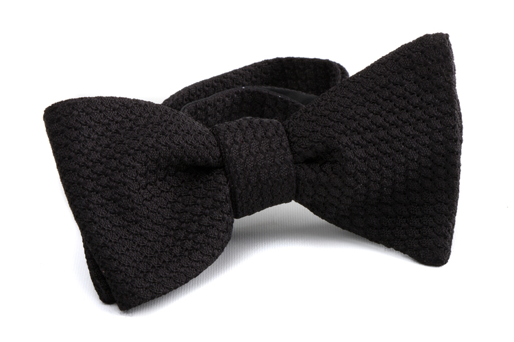 Solid Grossa Grenadine Bow tie - Black