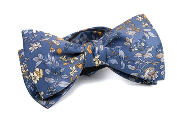 Floral Vintage Silk Bow Tie - Navy Blue/Yellow/Brown