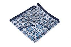 Silk Medallion - Navy Blue/White (36x36)