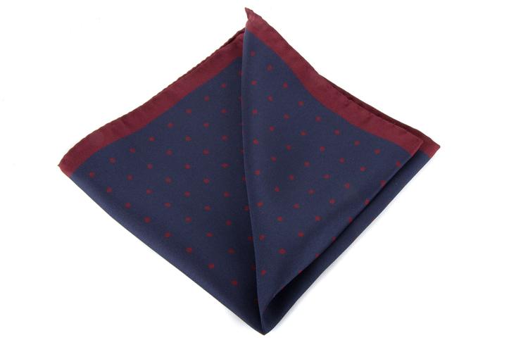 Silk Polka Dot - Navy Blue/Burgundy
