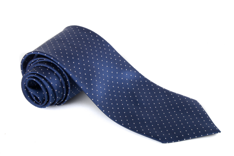 Silk Pin Dot - Navy Blue/White