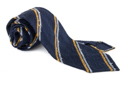 Regimental Shantung Grenadine Tie - Untipped - Navy Blue/Yellow