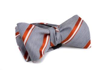 Self tie Silk Regimental - Grey/Orange/White