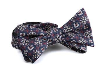 Medallion Silk Bow Tie - Navy Blue/Brown/White