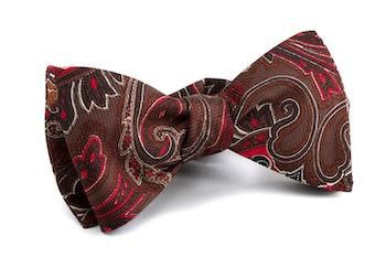 Paisley Vintage Silk Bow Tie - Brown/Red