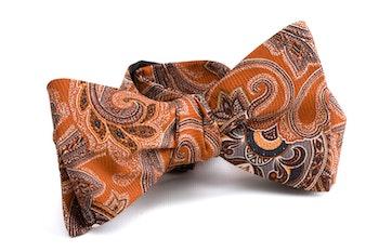 Paisley Vintage Silk Bow Tie - Orange/Blue