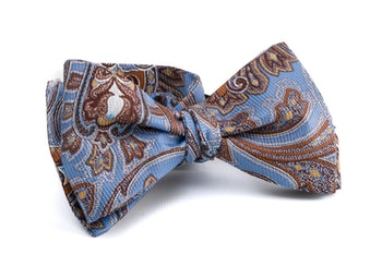 Paisley Vintage Silk Bow Tie - Light Blue/Brown