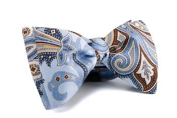 Paisley Vintage Silk Bow Tie - Light Blue/Beige/Brown