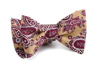 Paisley Vintage Silk Bow Tie - Yellow/Red/White