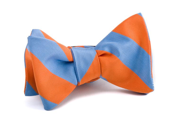 Self tie Silk Regimental - Orange/Light Blue