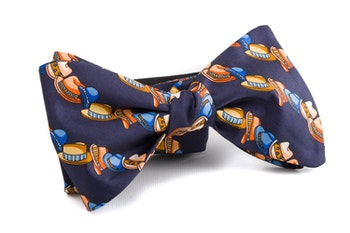 Self tie Silk Hats - Navy Blue/Orange/Light Blue