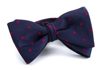 Self tie Silk Polka - Navy Blue/Red
