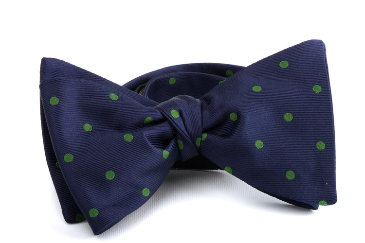 Self tie Silk Polka - Navy Blue/Green