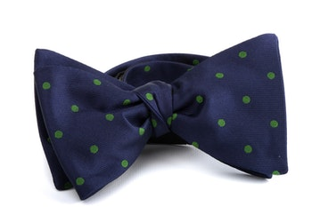 Self tie Silk Polka - Navy Blue/Green