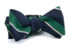 Self tie Shantung Regimental - Navy Blue/Green/White