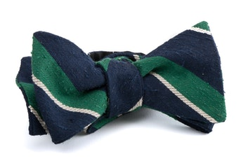 Self tie Shantung Regimental - Navy Blue/Green/White
