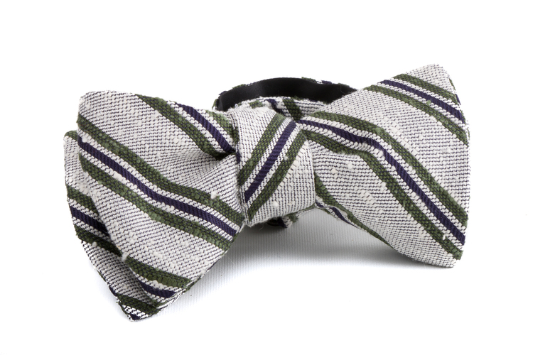 Self tie Shantung Regimental - Off White/Green/Navy Blue
