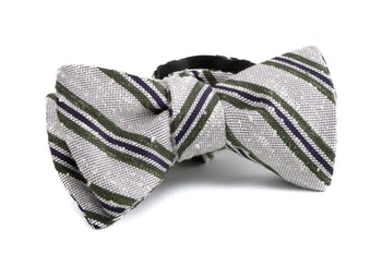 Self tie Shantung Regimental - Off White/Green/Navy Blue
