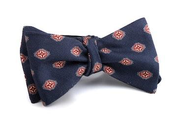 Self tie Silk Medallion - Navy Blue/Red