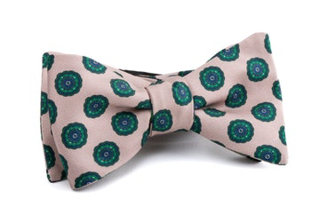 Self tie Silk Medallion - Creme/Green