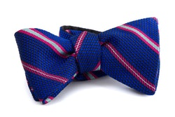 Regimental Grenadine Bow Tie - Mid Blue/Pink/White