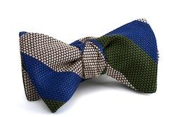 Regimental Grenadine Bow Tie - Mid Blue/Grey/Green