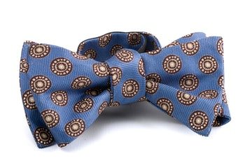 Self tie Silk Medallion - Light Blue/Brown/White