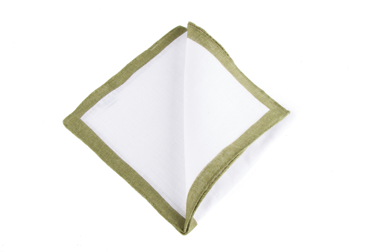 Linen Candy Stripe - White/Olive Green