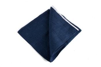 Linen Candy Stripe - Navy Blue/White