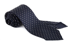 Micro Printed Silk Tie - Untipped - Navy Blue/White
