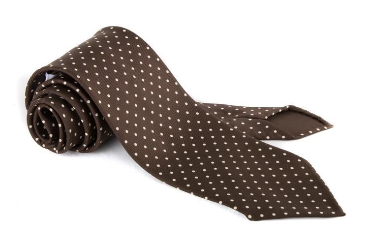 Polka Dot Printed Silk Tie - Untipped - Olive/White