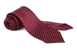 Polka Dot Printed Silk Tie - Untipped - Burgundy/White