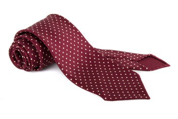Polka Dot Printed Silk Tie - Untipped - Burgundy/White
