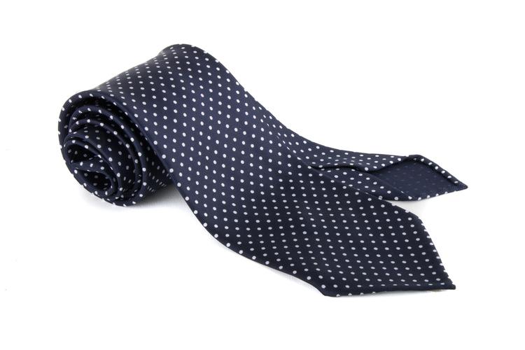 Polka Dot Printed Silk Tie - Untipped - Navy Blue/White