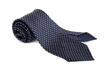 Polka Dot Printed Silk Tie - Untipped - Navy Blue/White
