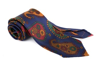 Paisley Printed Silk Tie - Untipped - Navy Blue/Red/Green/Yellow