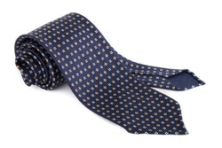 Micro Printed Silk Tie - Untipped - Navy Blue/Olive/Red/White