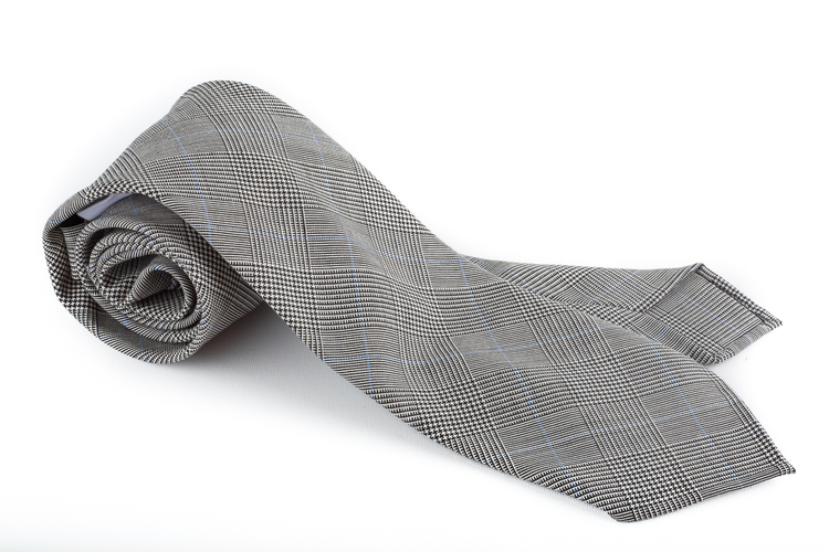 Glencheck Light Wool Tie - Untipped - Grey