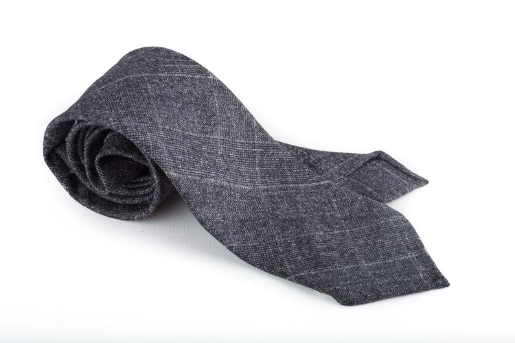 Plaid Wool Untipped Tie - Dark Grey
