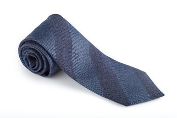 Regimental Wool/Silk Tie - Blue