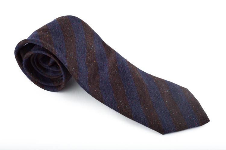 Wool Regimental Donegal - Navy Blue/Brown